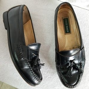 Cole Haan black leather tassel loafers